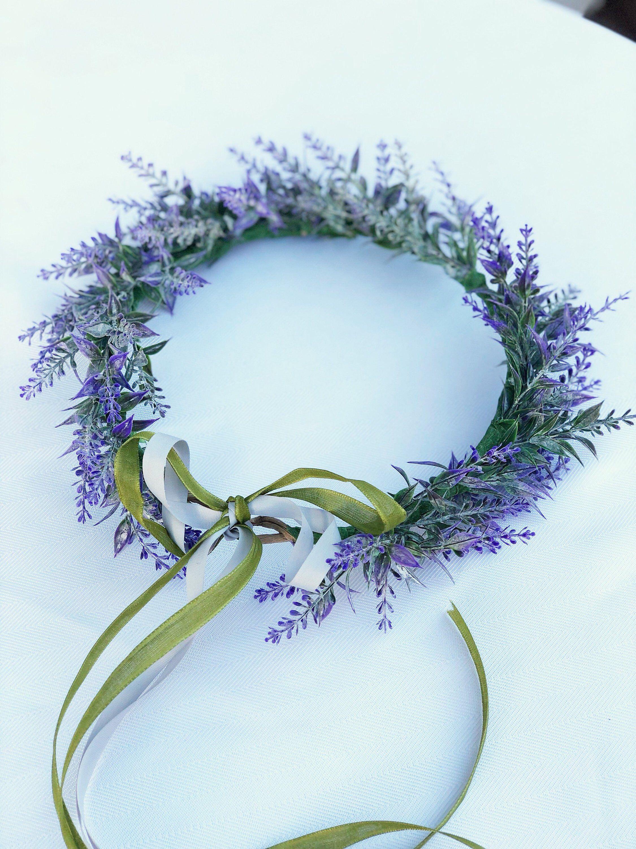 Lavender Flower Crown Faux Lavender Garden Floral Crown Etsy Floral Crown Diy Flower Crown Bridal Floral Crown