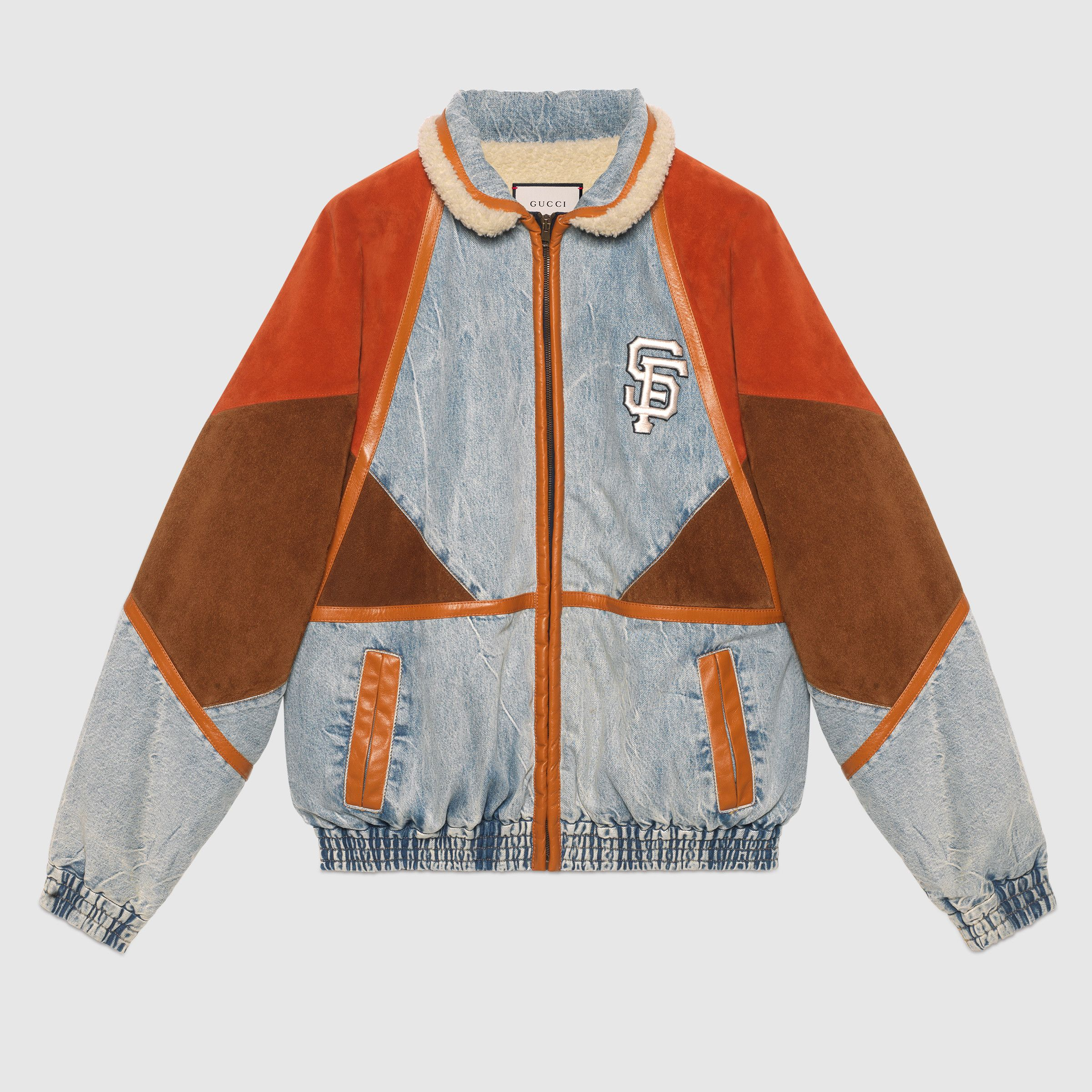 Men S Denim Jacket With Sf Giants Patch In Blue Marble Washed Denim With Brown And Orange Suede Mens Fashion Edgy Mens Fashion Sweaters Mens Fashion Casual [ 2400 x 2400 Pixel ]