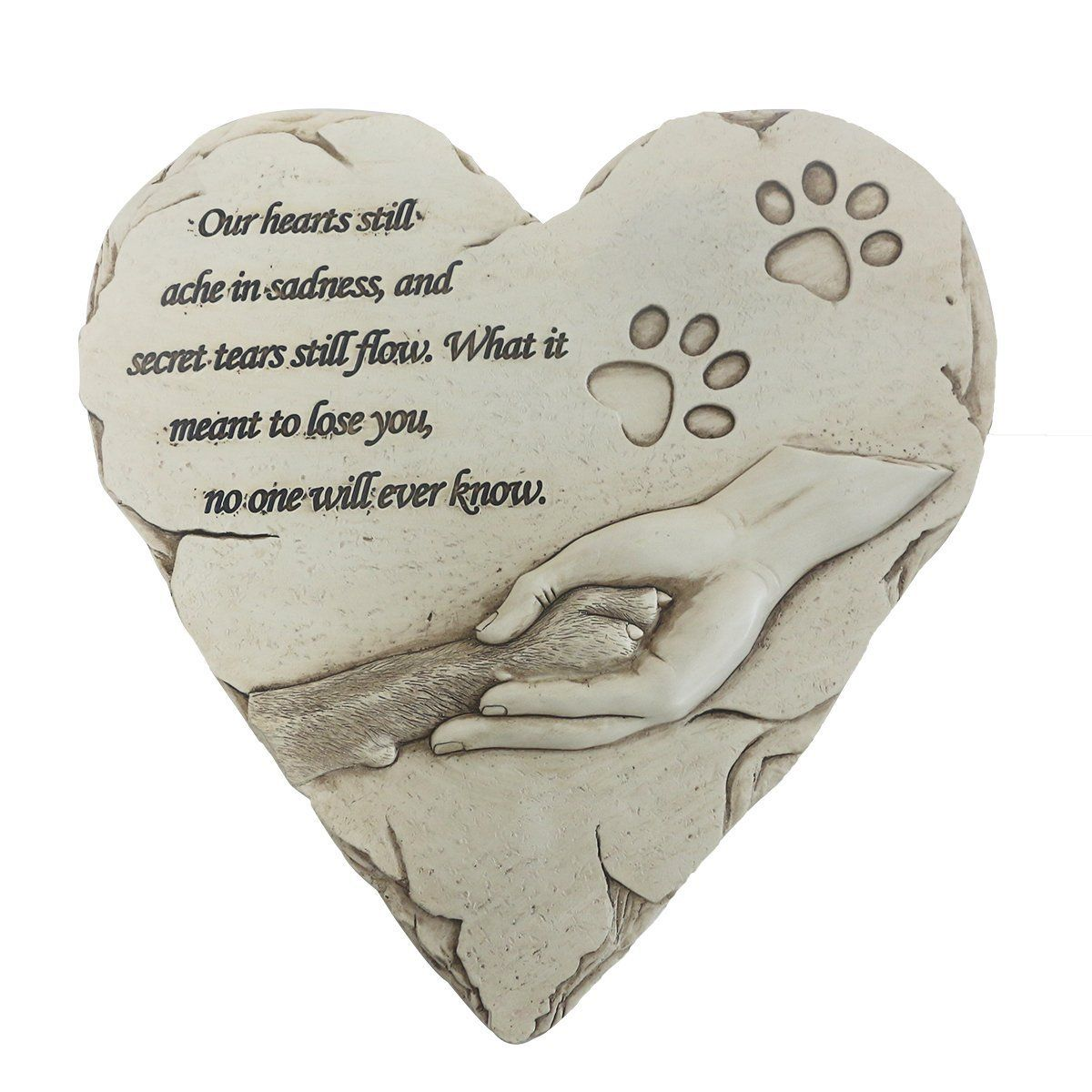 Dog memorial stone personalized handprinted heartshaped