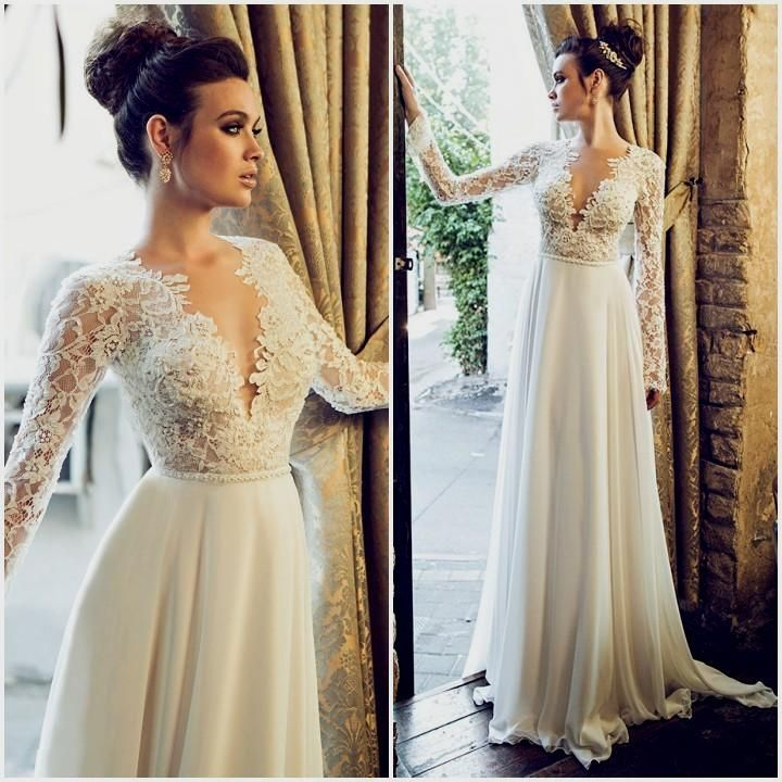 Wedding Dress With Lace Sleeves And Open Back Naf Dresses Wedding