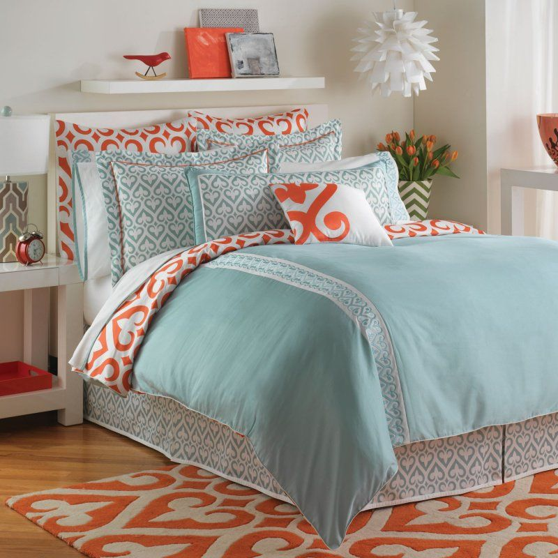 orange yellow and teal bedroom