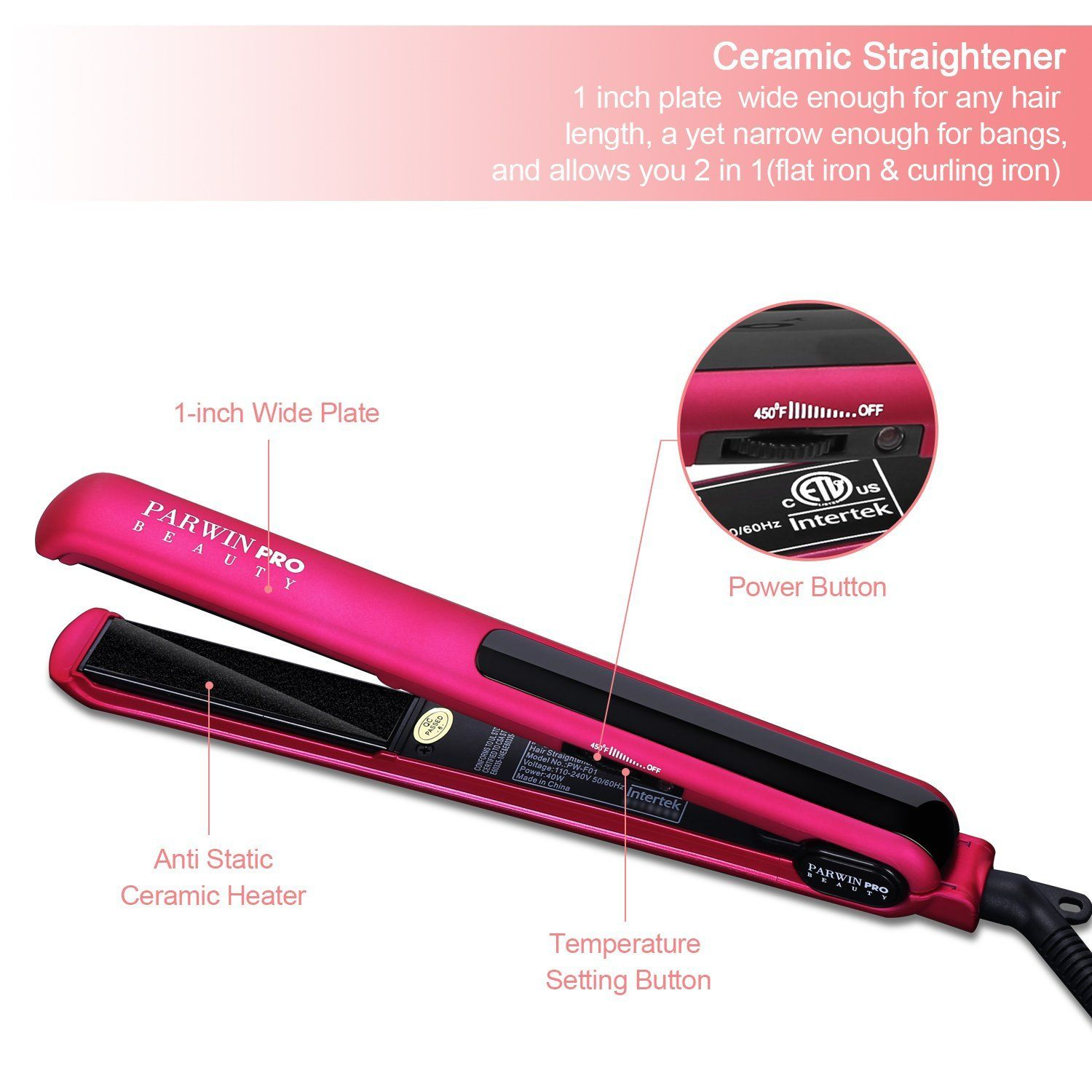 PARWIN BEAUTY Professional 1 Inch Flat Iron with Ceramic Plate Heat up Quickly Pink u003e  sc 1 st  Pinterest & PARWIN BEAUTY Professional 1 Inch Flat Iron with Ceramic Plate Heat ...