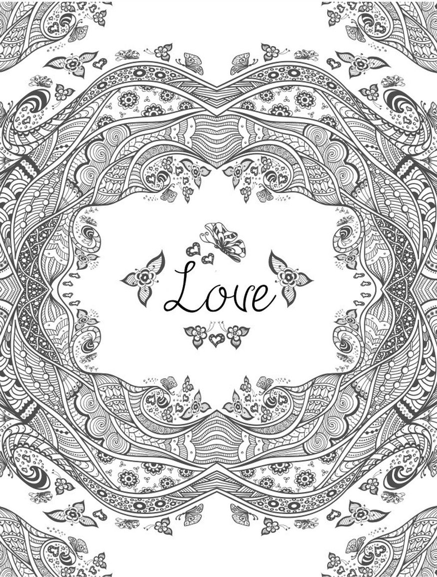 hard pattern of heart for valentines day coloring pages | Abstract ...