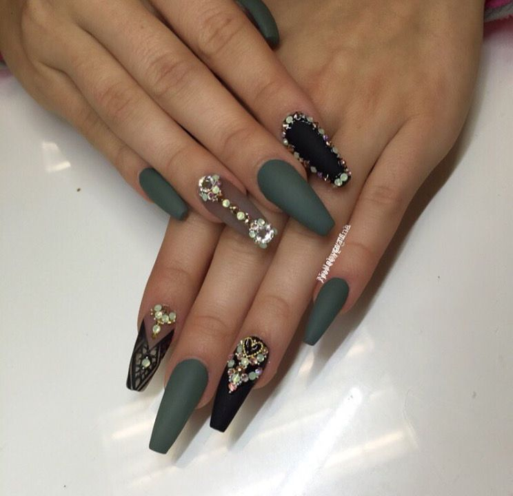 Matte Olive Green And Black Coffin Nails Camo Nails Green Nails Olive Nails