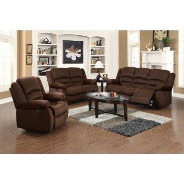 Acme 3 Pieces Bailey Chocolate Velvet Sofa Set 3 Piece Living Room Set Living Room Sets Living Room Sets Furniture