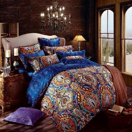 exciting bedroom style bohemian bedding | Orange and Royal Blue Bohemian Tribal Style Unique Pattern ...