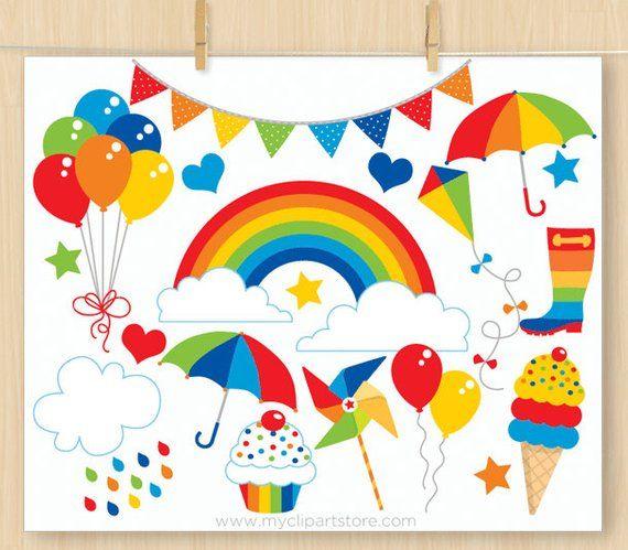 Rainbow Fun Birthday Clipart Birthday Balloon Ice Cream Cupcake