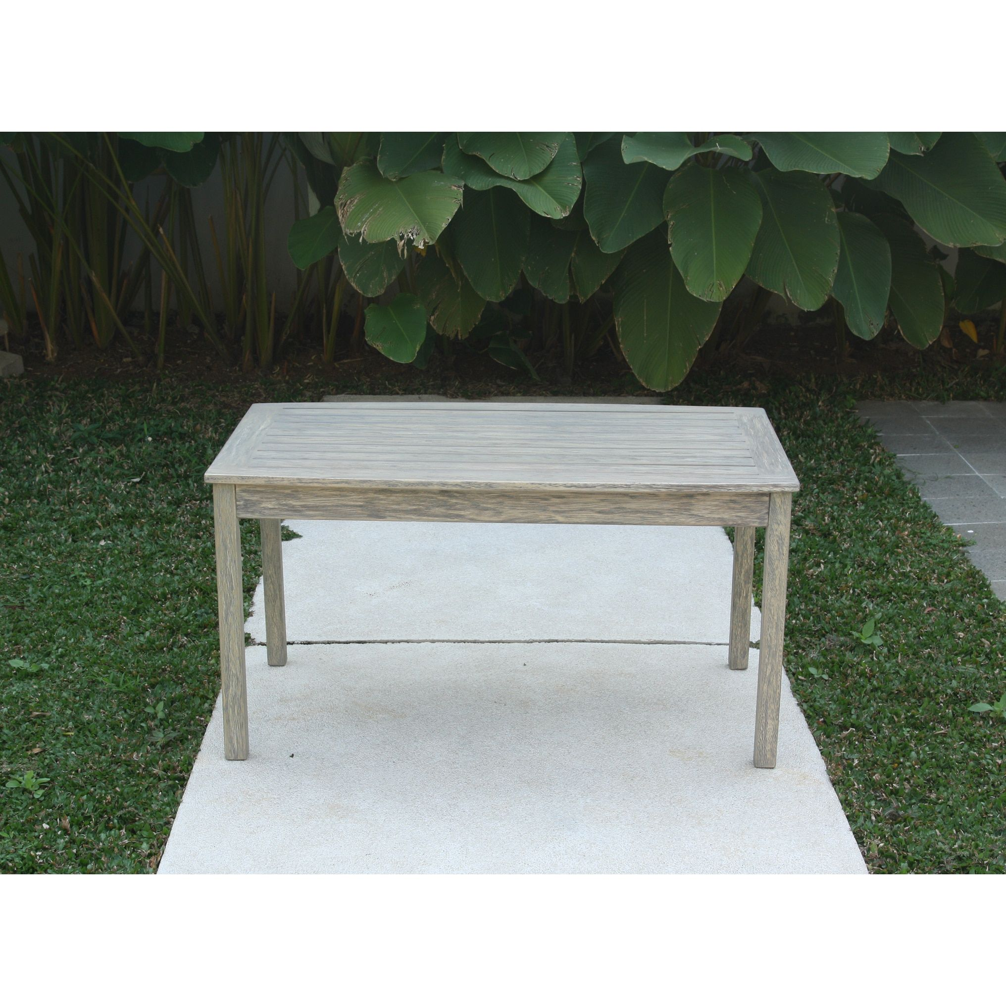 Cambridge casual west lake coffee table weather resistant grey mahogany brown wood patio furniture