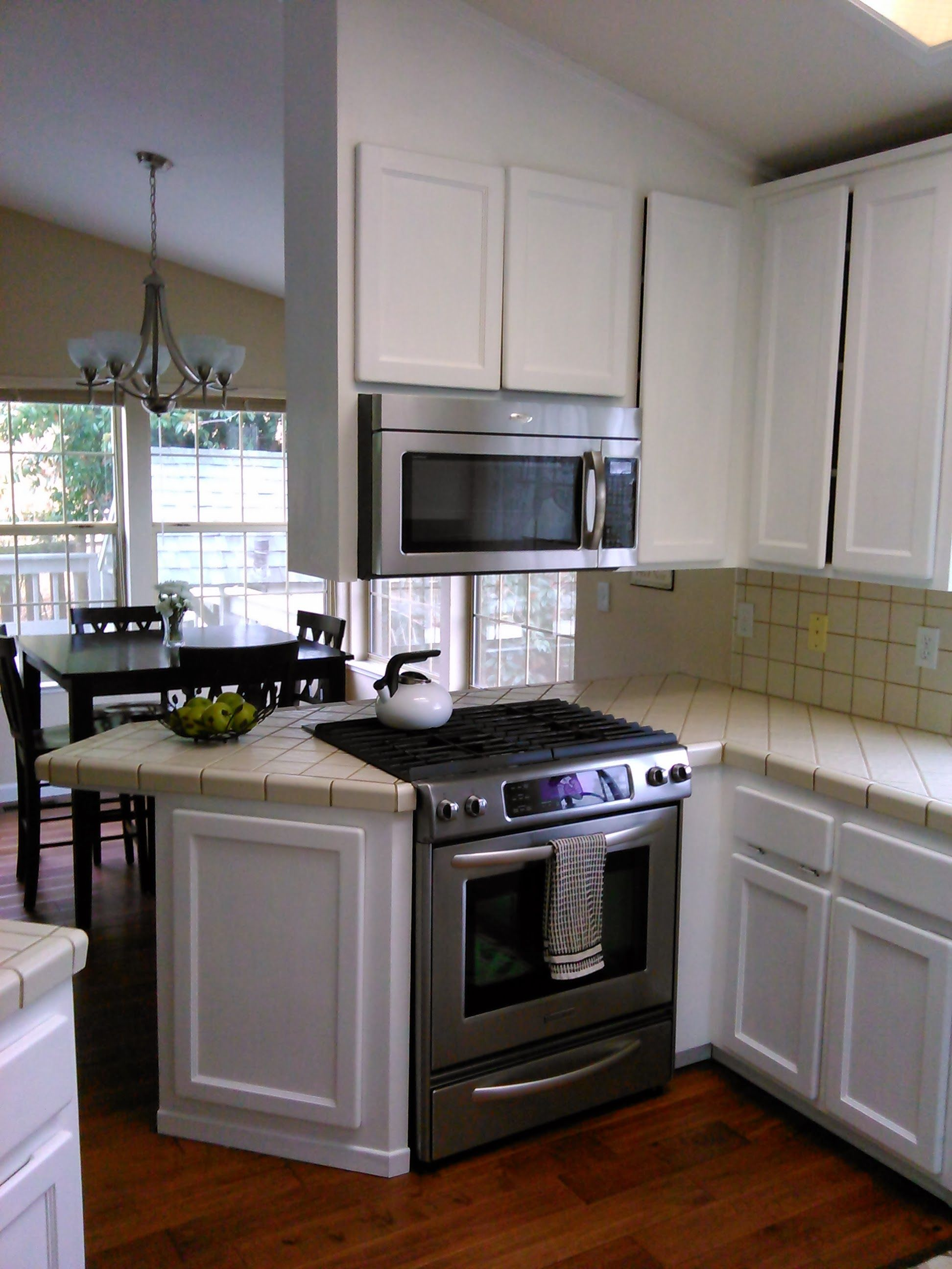 Oak Cabinets Painted White With Km Epoxy Paint Kitchen Aid Convection Slide In Range And 400cfm Microwave Convection C Painting Cabinets Kitchen Oak Cabinets