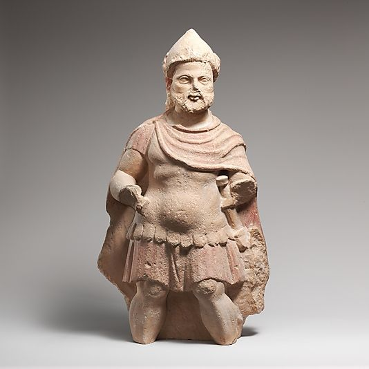 Limestone statue of a bearded warrior early hellenistic,late  4th-3rd cent. BC Cypriot Terracotta Metropolitan Museum