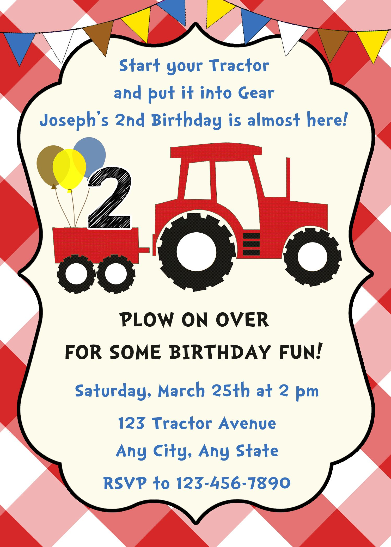 Tractor Birthday Invitation, Tractor Birthday Party, Farm Birthday ...