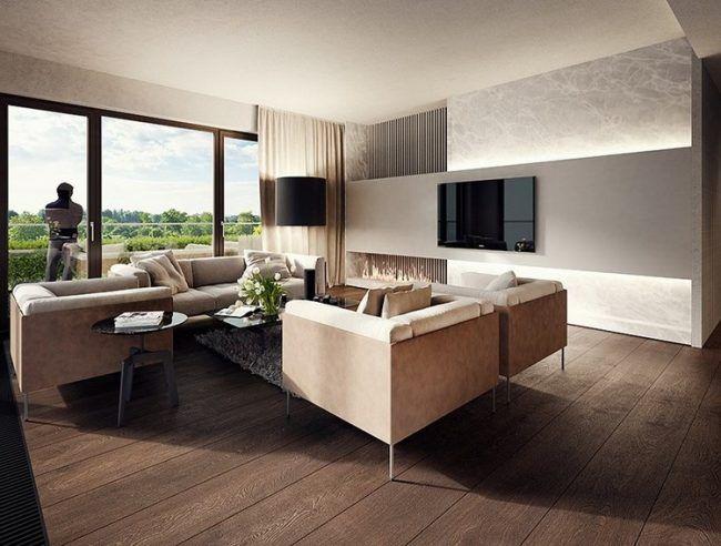 Wandgestaltung Wohnzimmer Licht Wandpaneele Fernseher Indirekte Beleuchtung