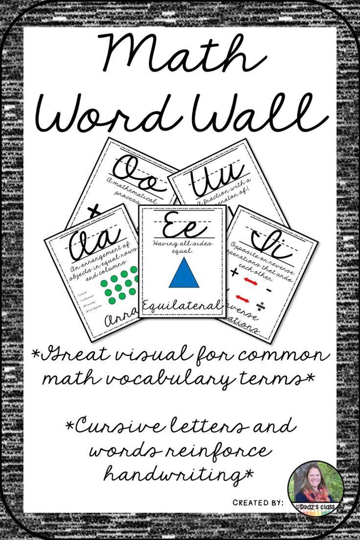 Cursive Math Vocabulary and Alphabet Line for Upper
