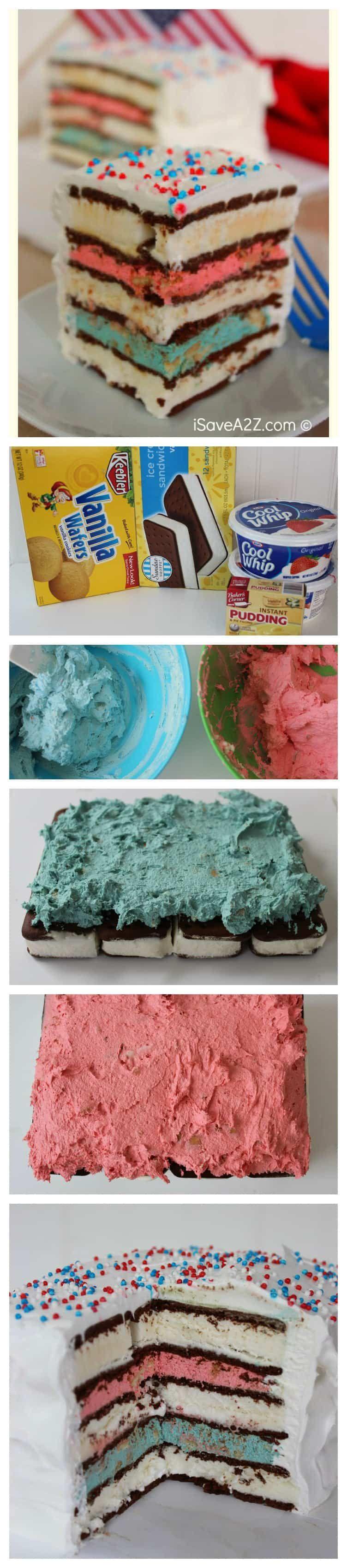 Red White & Blue Ice Cream Sandwich Cake #icecreamsandwich