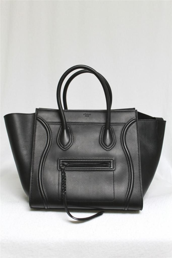 63044edfe5 New Celine Black Phantom Luggage Smooth Leather Medium Tote Bag  2998