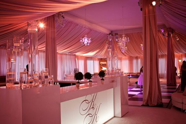 Tented Wedding With An Initial Glow Bar At The Congressional Country Club I Know Some
