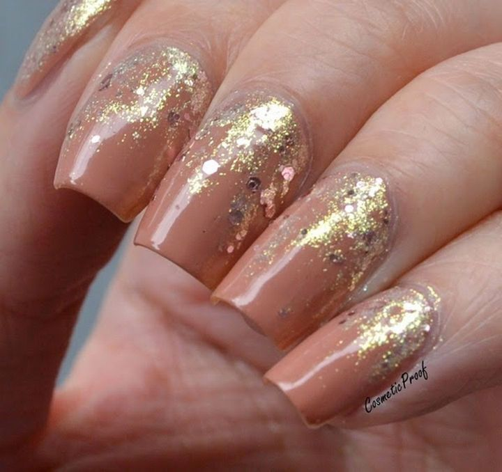 Feel Like A Queen With These Gorgeous Rose Nails Gold Glitter Reverse Gradient