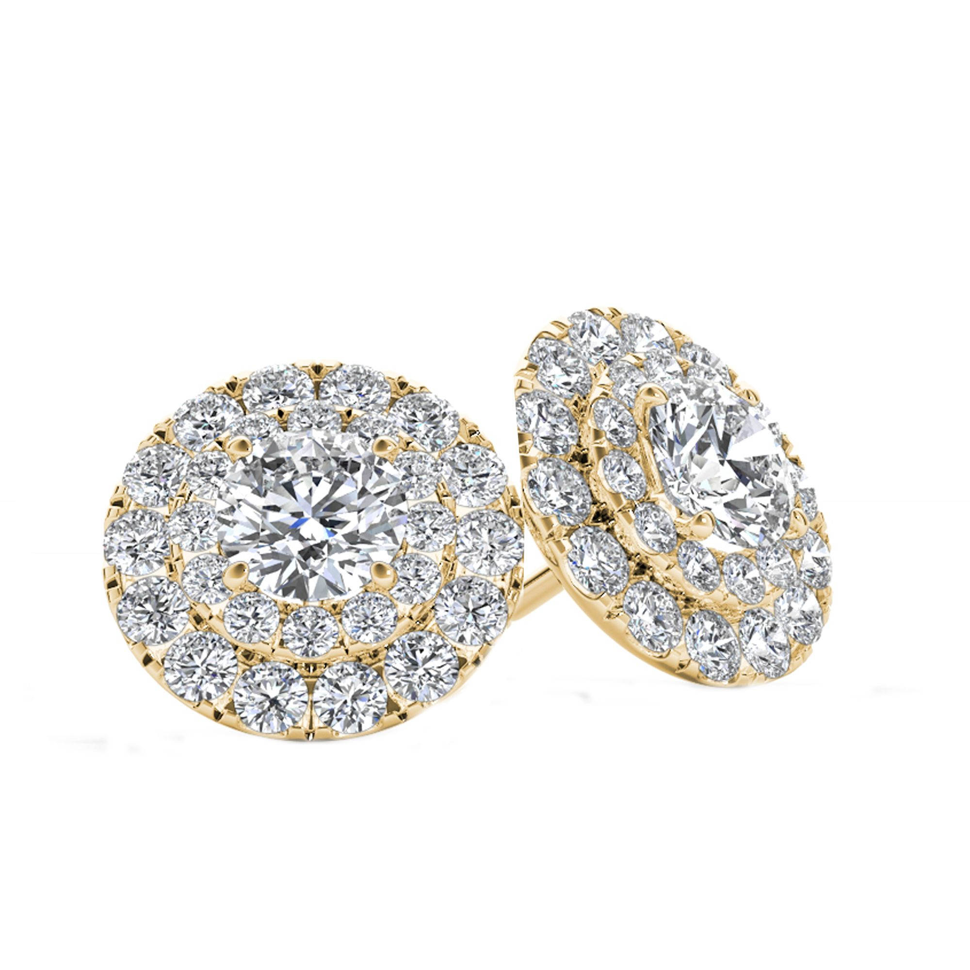 round cluster white halo diamond earrings gold tanzanite