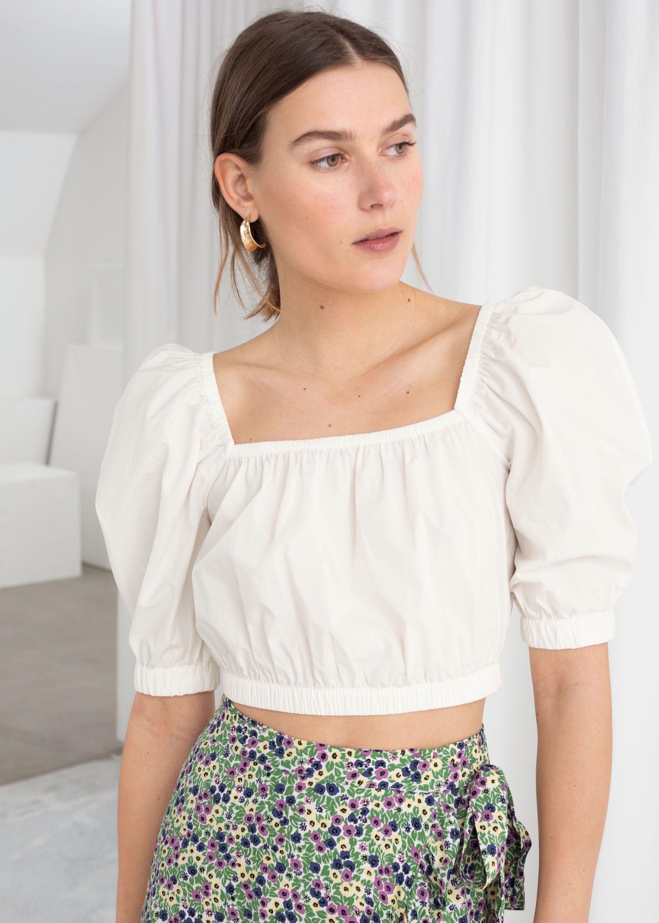Puff Sleeve Cotton Crop Top Cotton crop top, Midi skirt