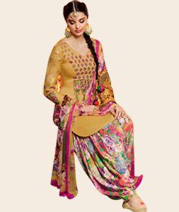 Buy Giselli Monteiro Beige Cotton Satin Punjabi Suit 73514 online ...