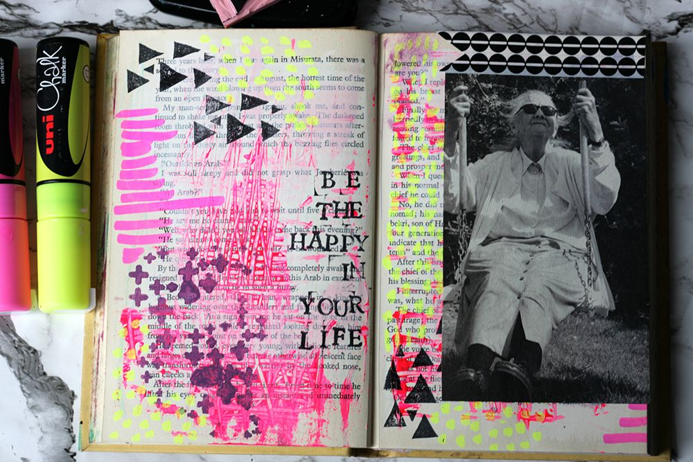My altered book page for the Get Messy Season of Happy. I love all the texture I've achieved with the paint layers