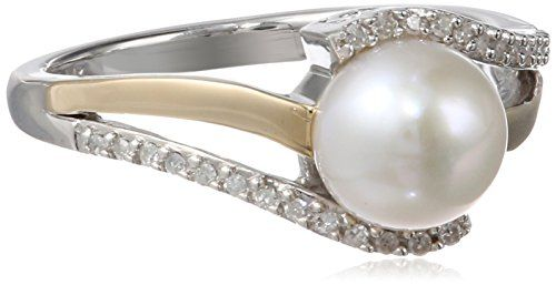 S&G Sterling Silver and 14k Yellow Gold 7mm Freshwater Cultured Pearl and Diamond Ring $105.11