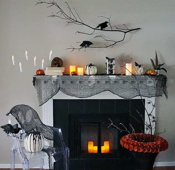 halloween mantel creepy curiosities - Halloween Mantle
