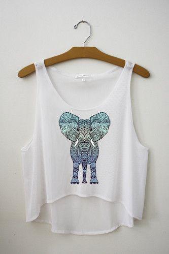 8e48e89db7a80a Aztec Elephant Crop Top – Hipster Tops