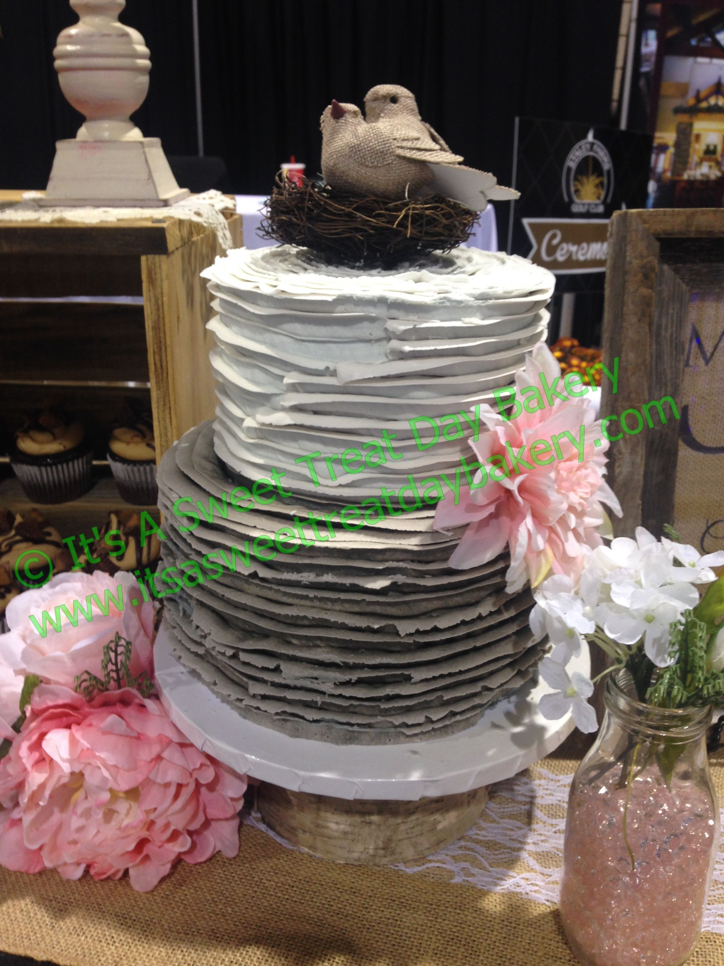 2 Tier Round Buttercream Grey Hombre Rustic Ruffle Pink