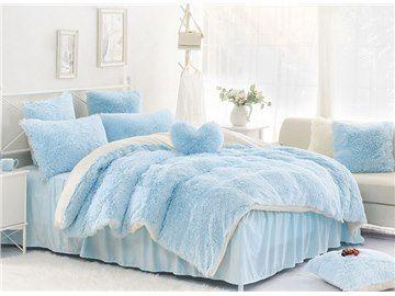 Solid Light Blue And White Color Blocking Fluffy 4 Piece Bedding Sets Duvet Cover Light Blue Bedding Bedding Sets Blue Bedding