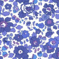 Liberty betsy t bleu - coupon de tissu thermocollant pour appliqués