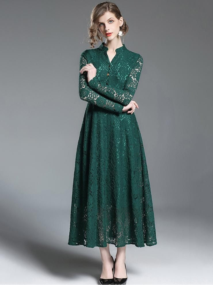 Buy vneck long sleeve lace hollow out maxi dress fashion