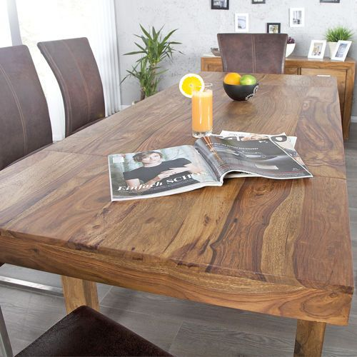 Massiver Esstisch BONJANNA Esszimmertisch Holz Sheesham Ausziehtisch  120 200cm | EBay
