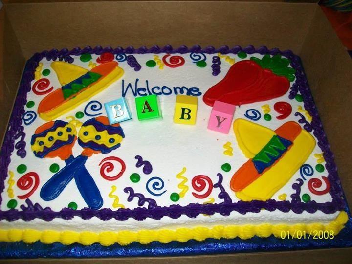 fiesta theme baby shower cake