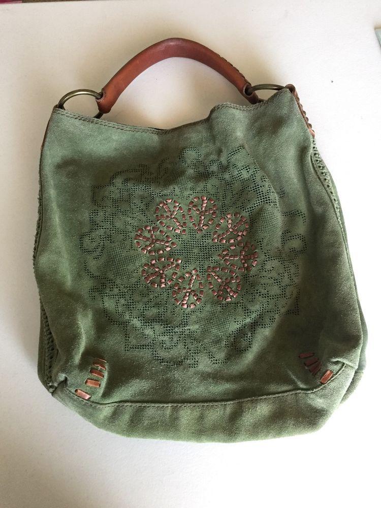 LUCKY BRAND - Green Suede Hobo Handbag Purse