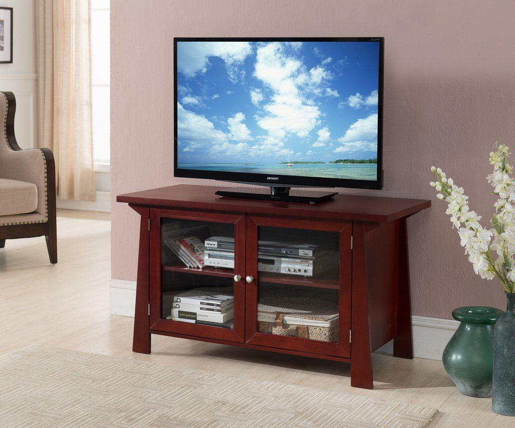 42 Cherry Wood Tv Stand Entertainment Center Storage Console With