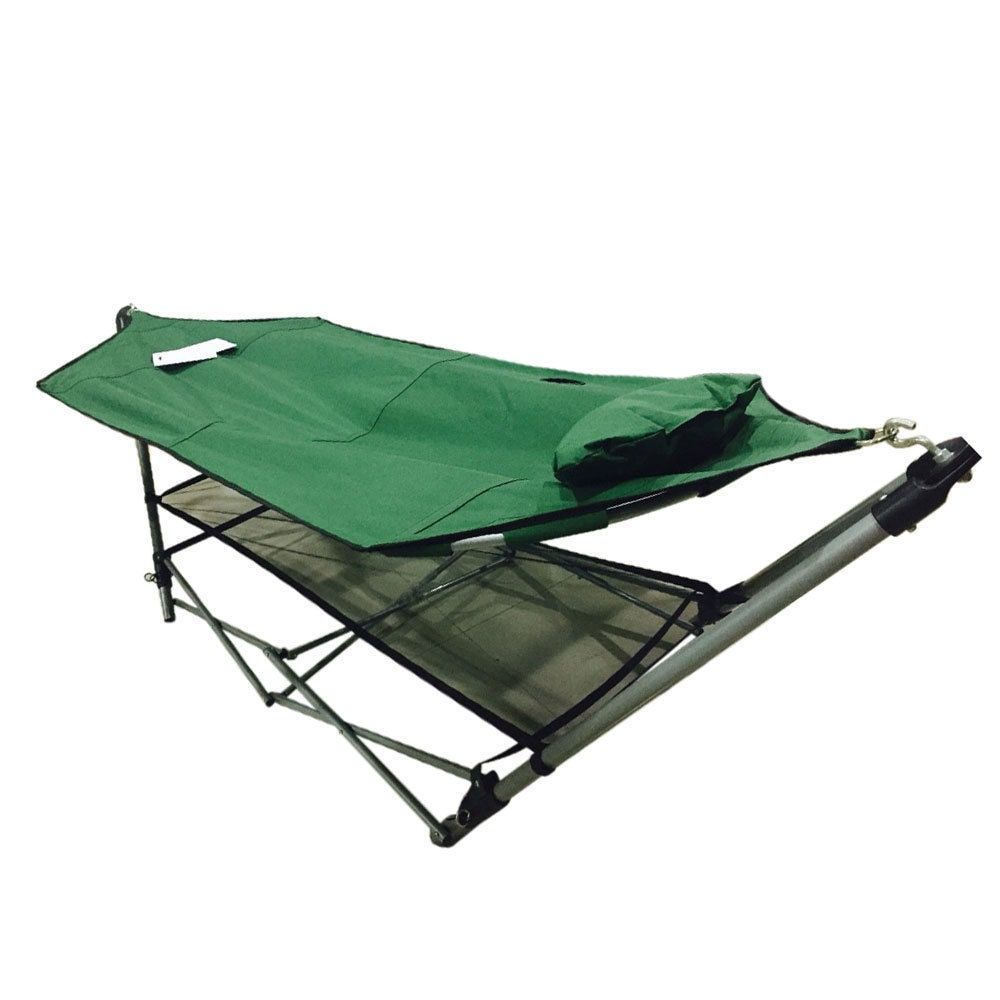 Foldable outdoor hammock stand set in army camping hammock