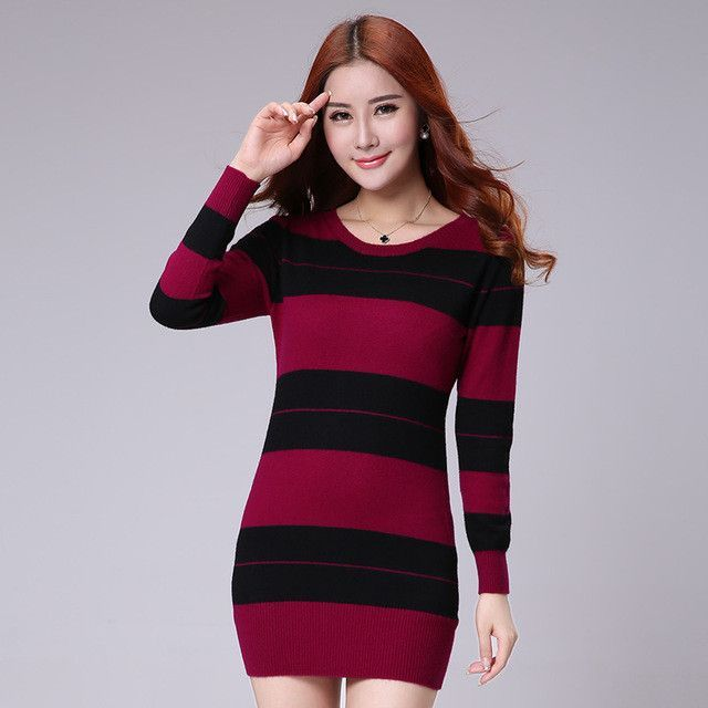 NEW spring autumn Cashmere blended Skirt In the long section Knit Pullover Slim stripe Wool Skirt Round collar Sweaters Female