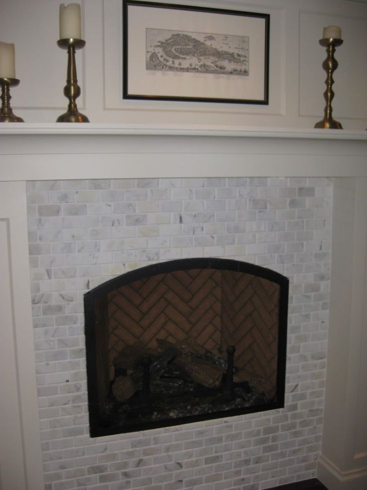 Whitewash Brick Fireplace Marble Fireplace Surround- But Without Raised Hearth