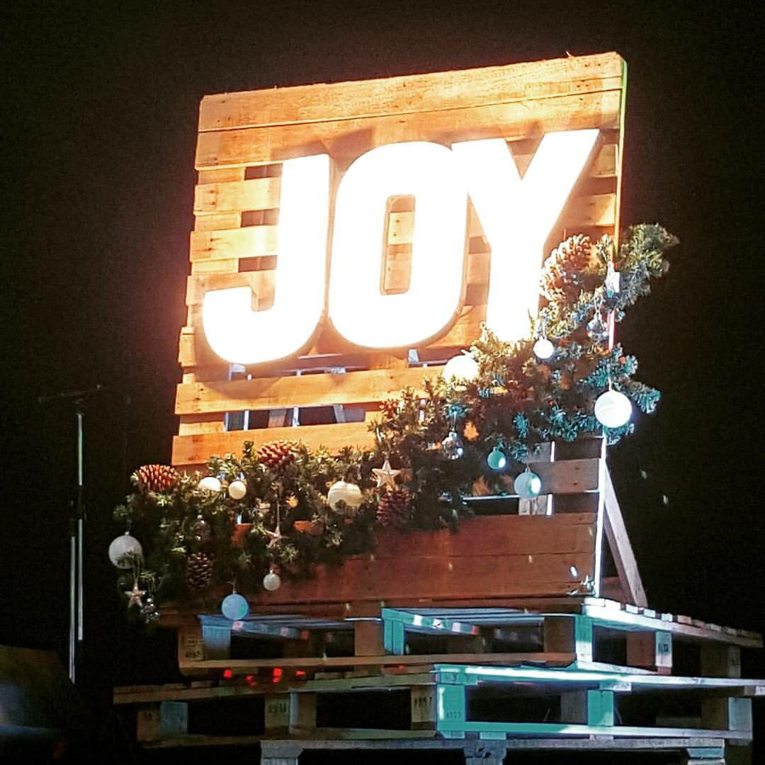 Christmas Church Decoration: JOY Pallet Christmas Lights Stage Design Church