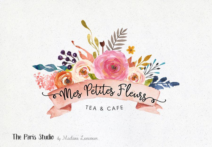 Watercolor Floral Banner Logo Photoshop Logo Download ...