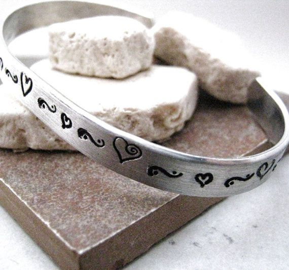 Heart bracelet skinny aluminum cuff great gift for by riskybeads, $15.95