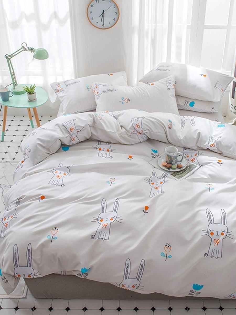 Cartoon Rabbit & Flower Print Sheet Set SheIn(Sheinside