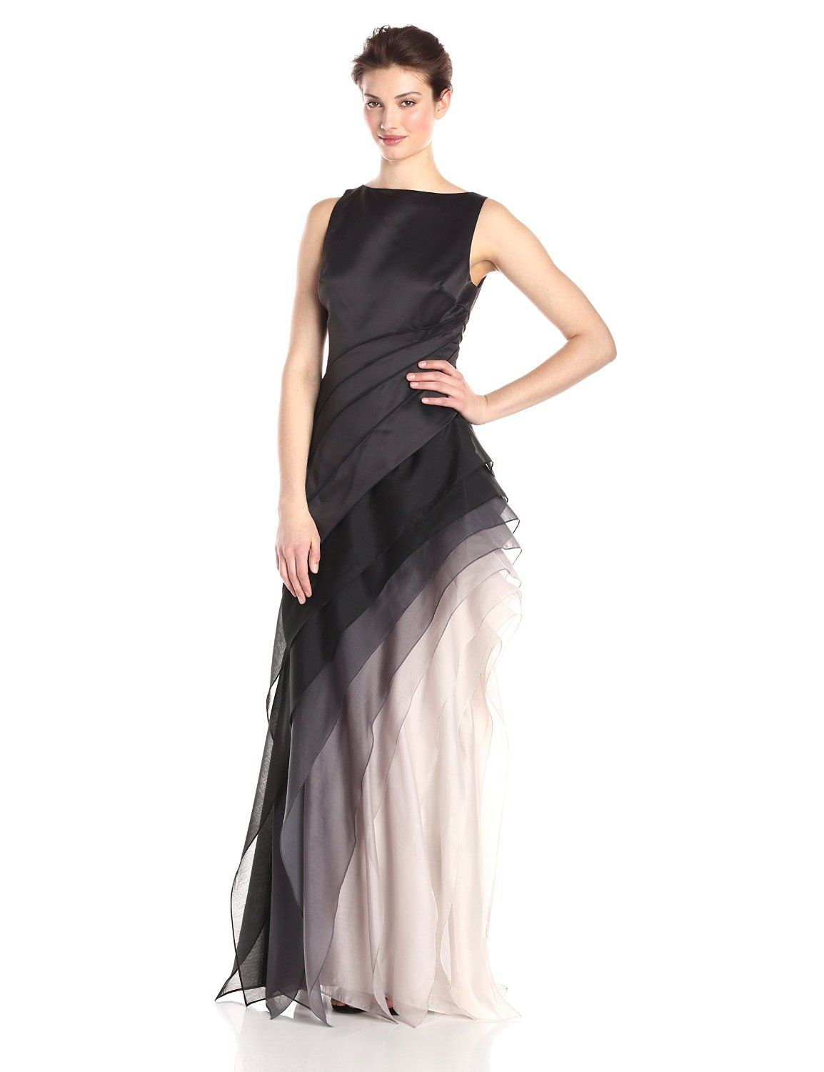 Double Face Satin Sleeveless Boatneck Evening Gown by Halston ...