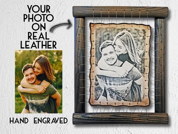 Etched RARE Pyrography Handmade Technique by Artists on Leather Your Photo Hand Engraved 2 Year Anniversary Gift For Husband