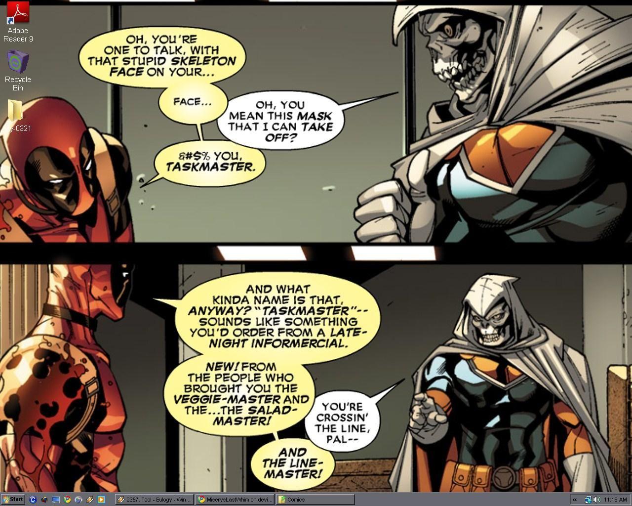 Deadpool Taskmaster Desktop By Miseryslastwhim On Deviantart Deadpool Comic Deadpool Quotes Deadpool Funny