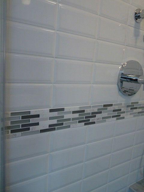 Detail Of Glass Stone Border In Shower House Bathroom Shower