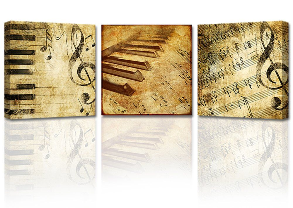Ardemy Musical Score Canvas Wall Art 3 Panels Wooden Frame, Vintage ...
