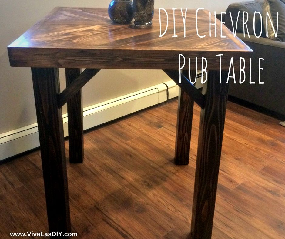 Diy Pub Table Build With A Cool Chevron Pattern Top