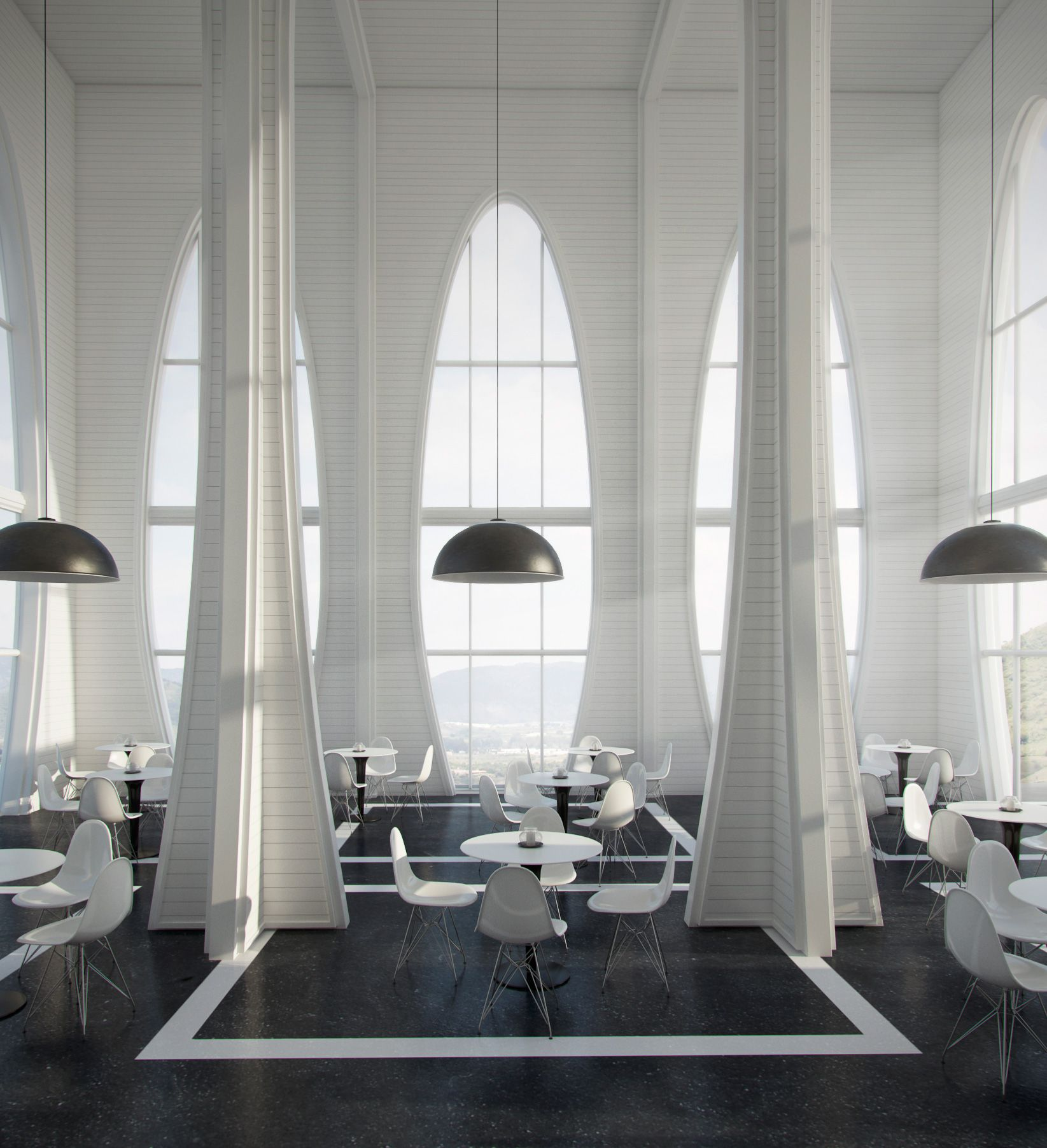 beautiful store interiors | White Interior with High Ceilings Vray ...